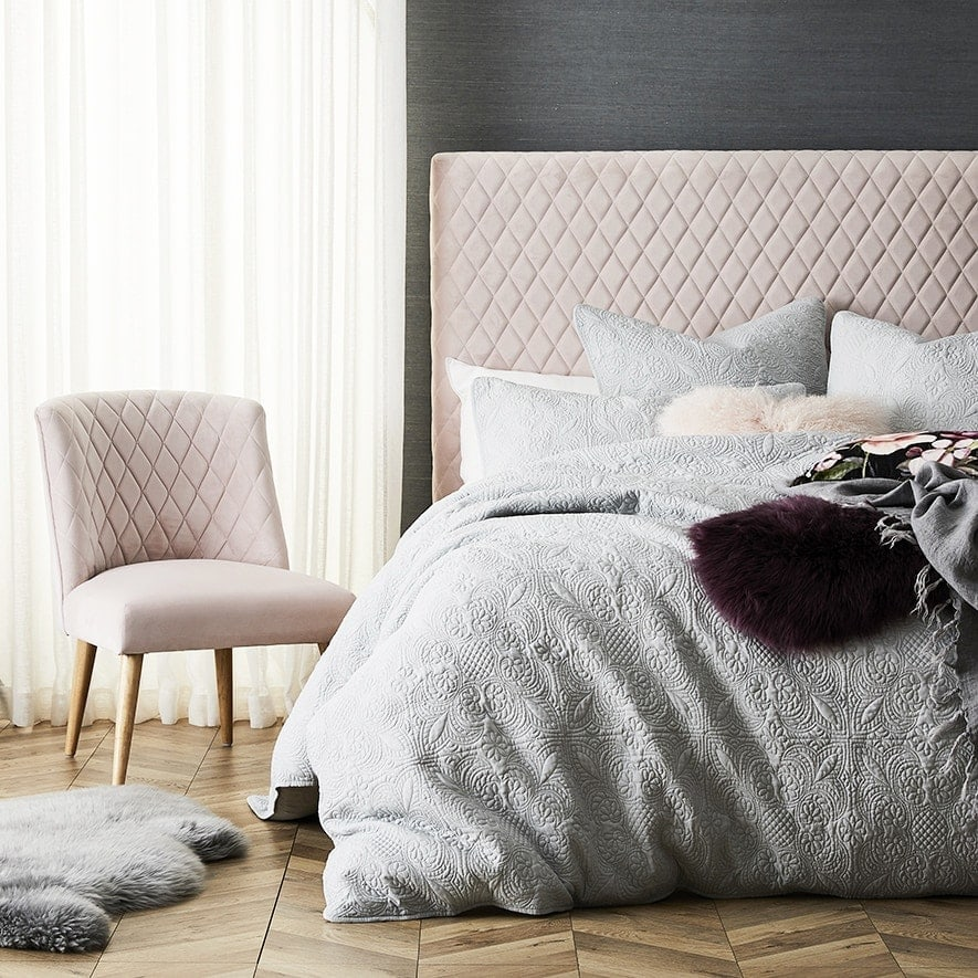 adairs diamond pink headboard with matching armchair