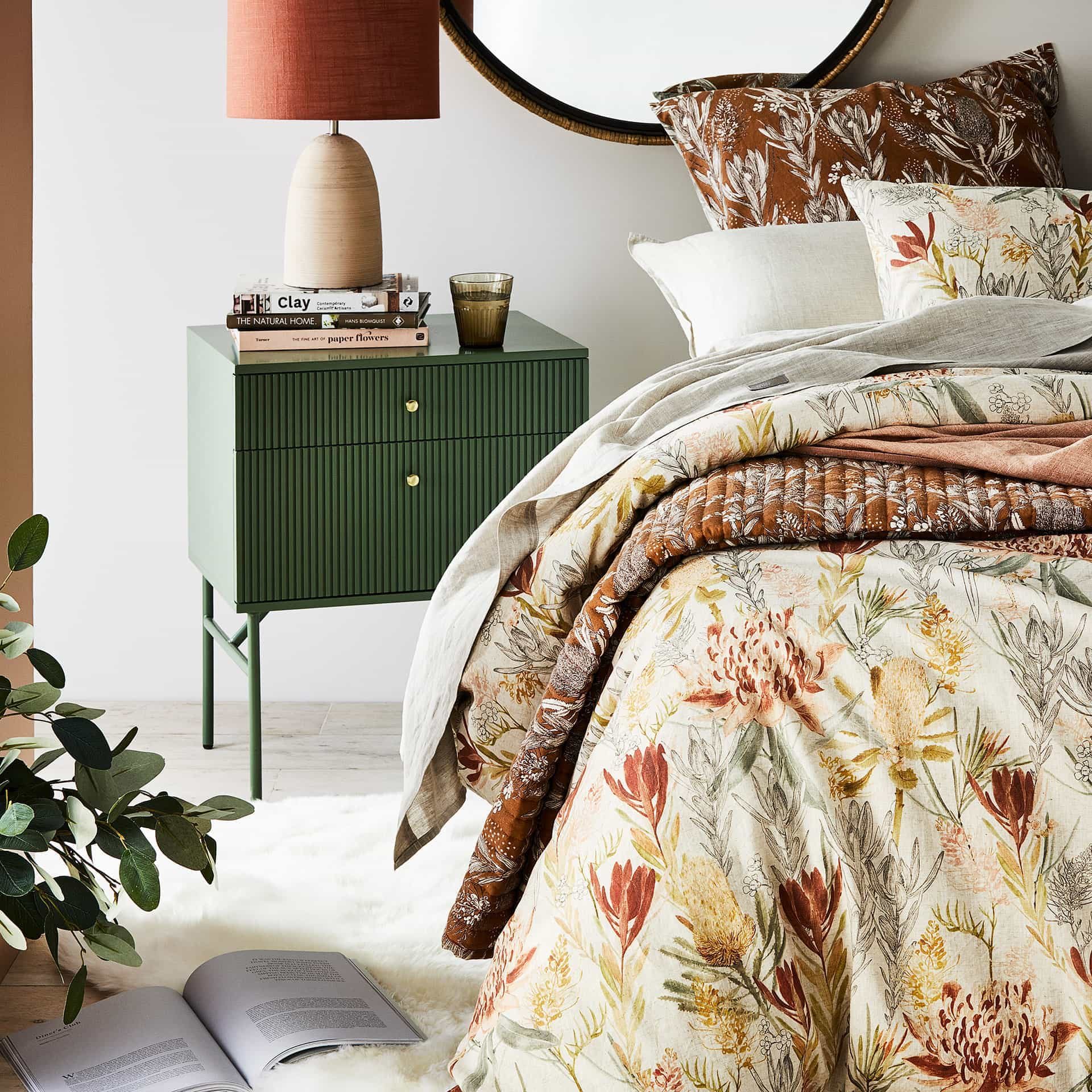 adairs floral quilt cover set native australian flowers bedding green bedside table