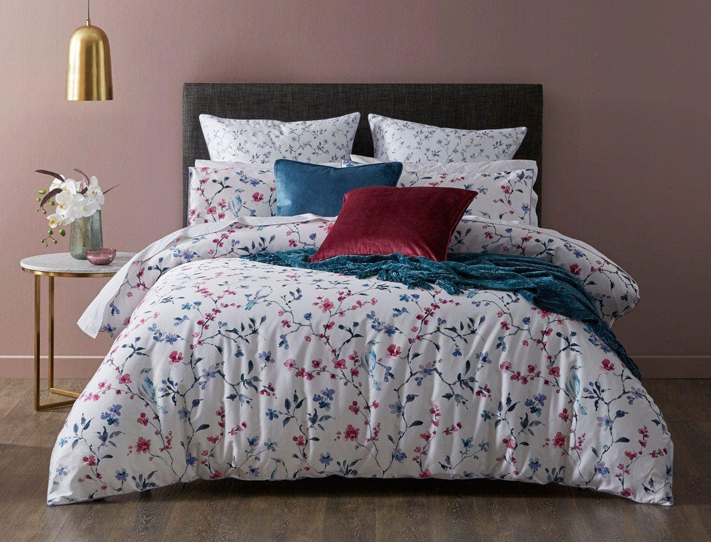 bed bath n table plumbloss white and pink floral quilt cover set in feminine bedroom