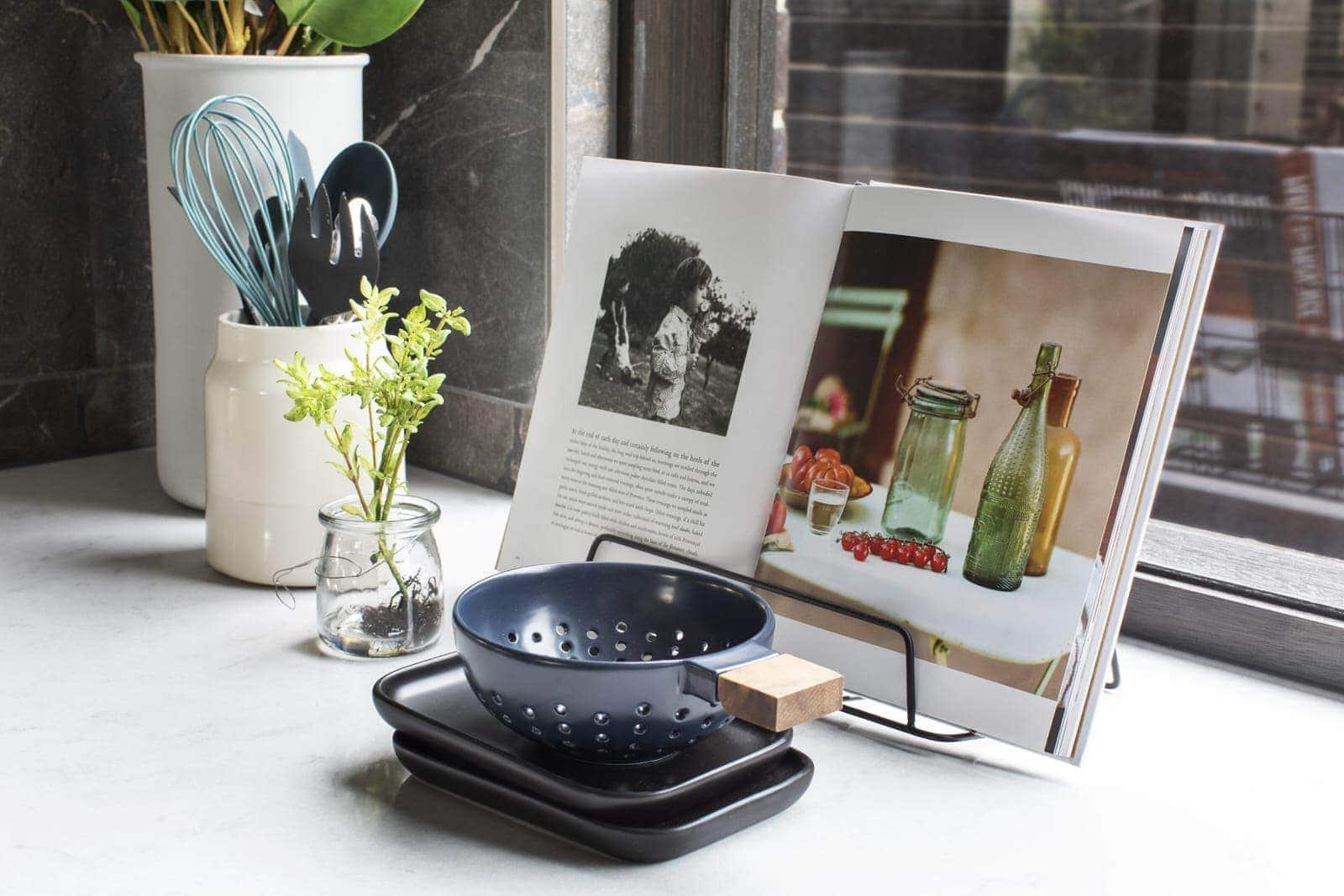 cookbook styling by kitchen window