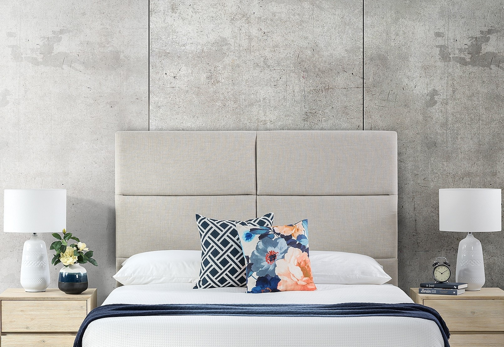 erika grey upholstered headboard from amart furniture
