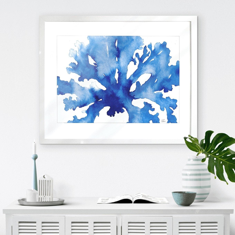 hamptons blue coral artwork from karibou art co