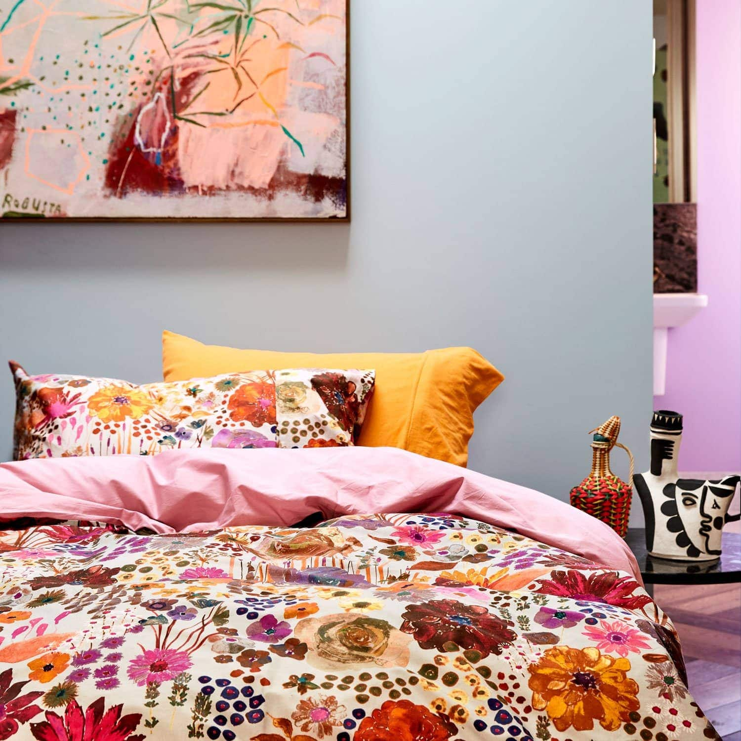 kip and co field of dreams floral quilt cover set in bright colours