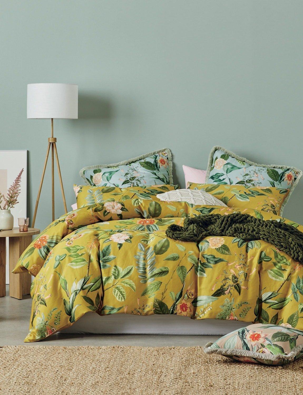 lorraine lea clare floral quilt cover set yellow floral bedding