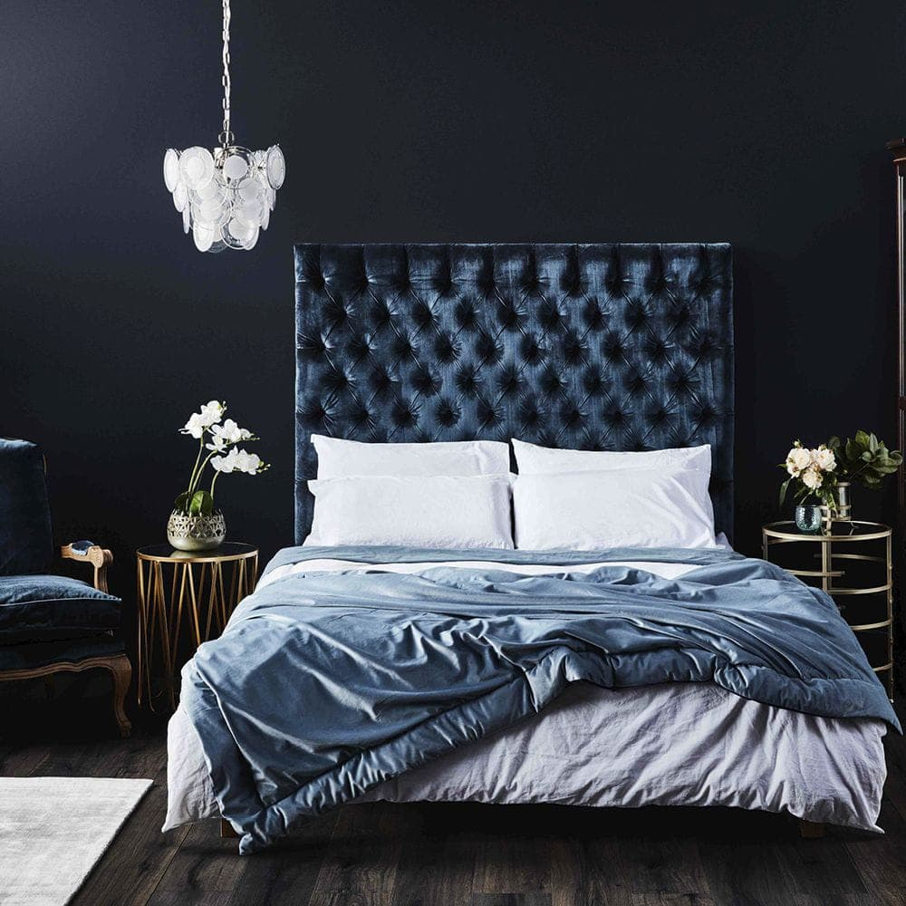 louie navy blue velvet headboard with buttons from early settler