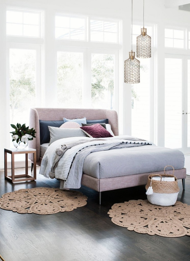 peony pink upholstered headboard from domayne