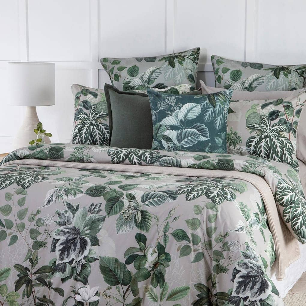 pillow talk forestry floral green quilt cover set