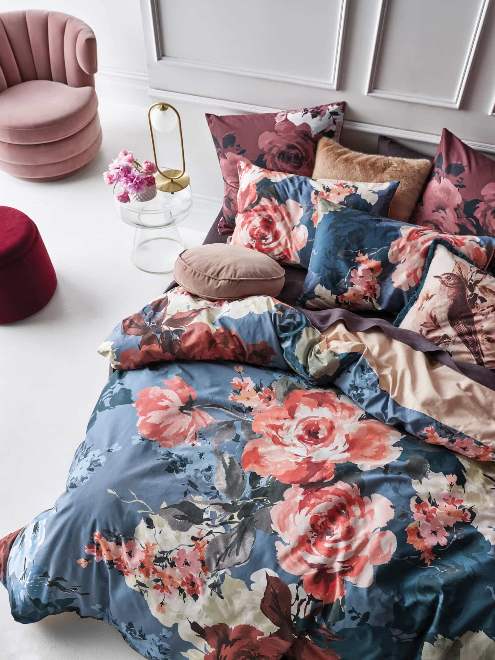 primrose floral quilt cover set from linen house flower bedding blue and pink