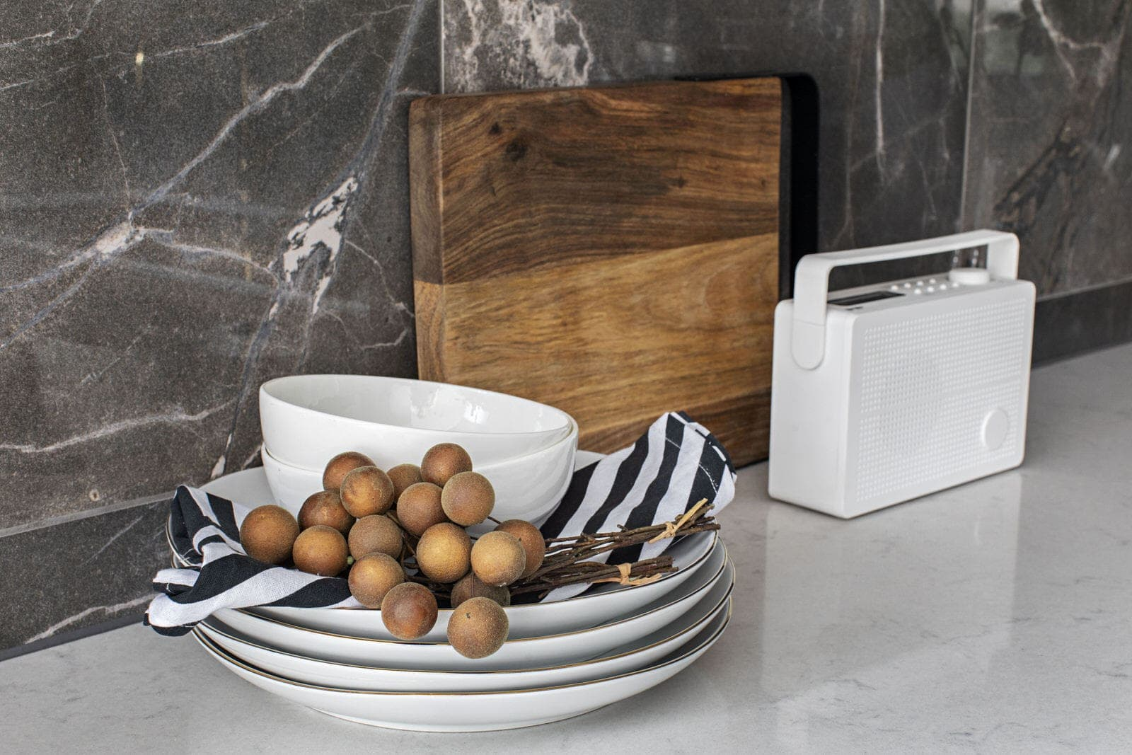 rustic kitchen styling on white benchtop