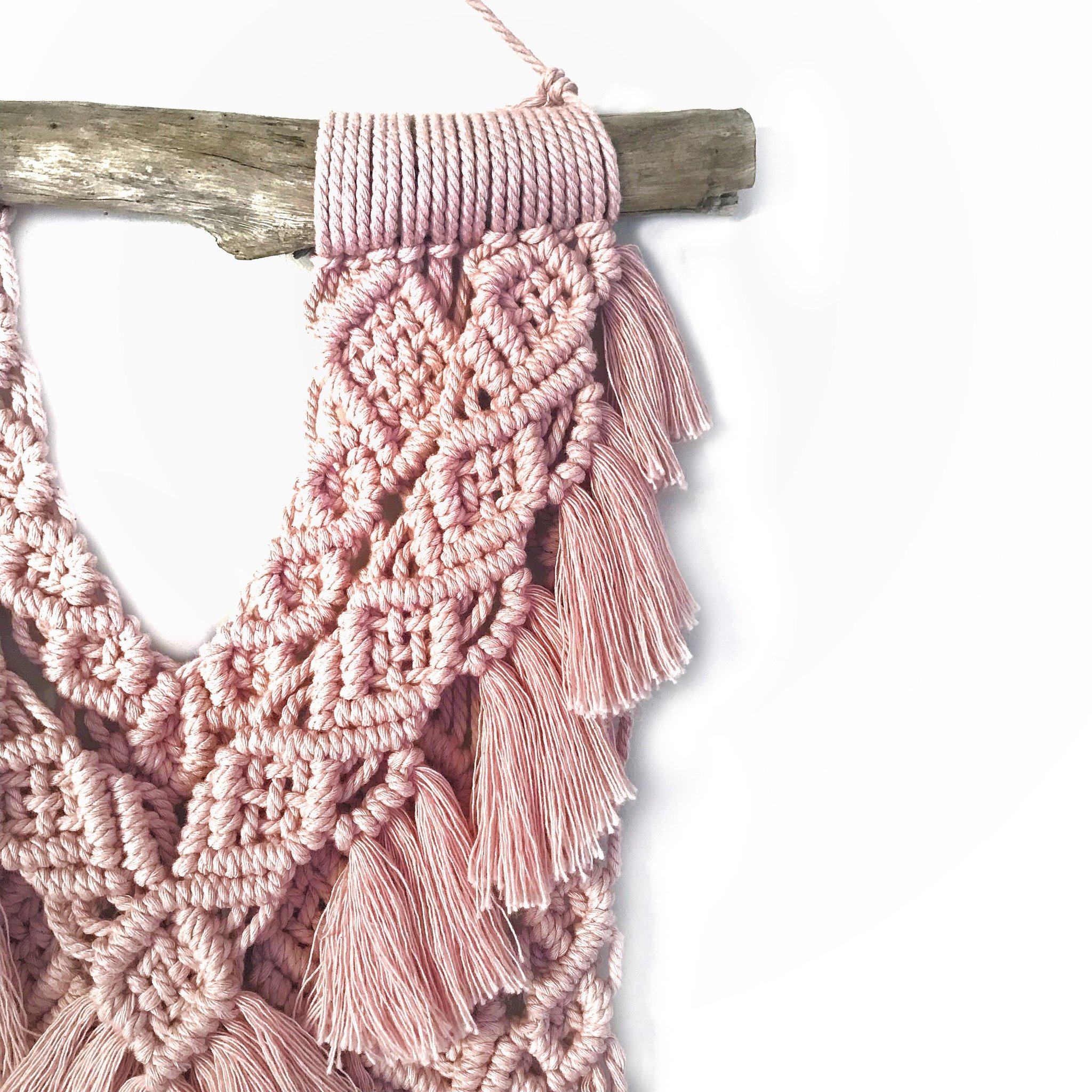 blush macrame wall hanging by home vibes macrame