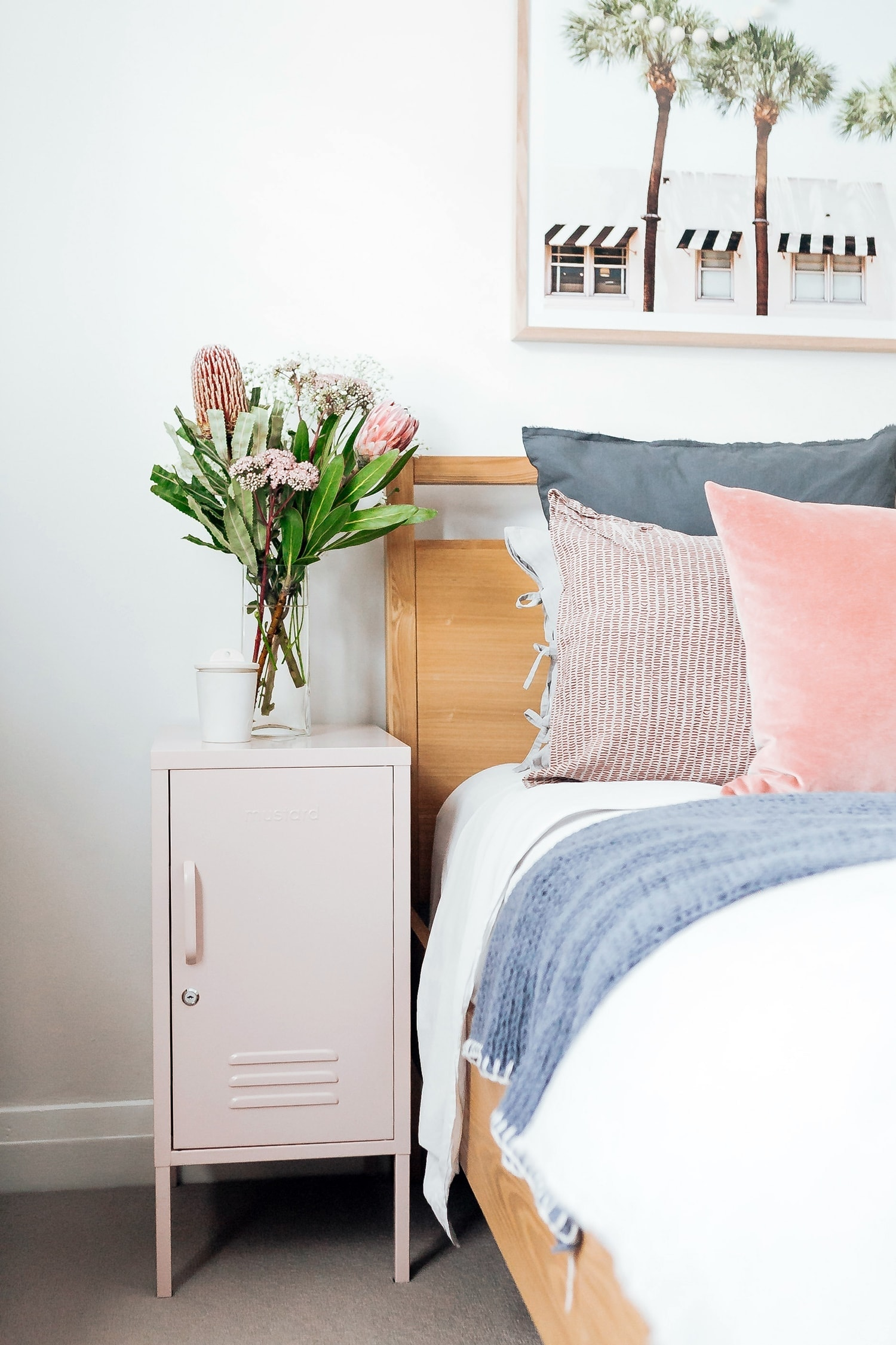blush pink coloured locker in master bedroom by mustard