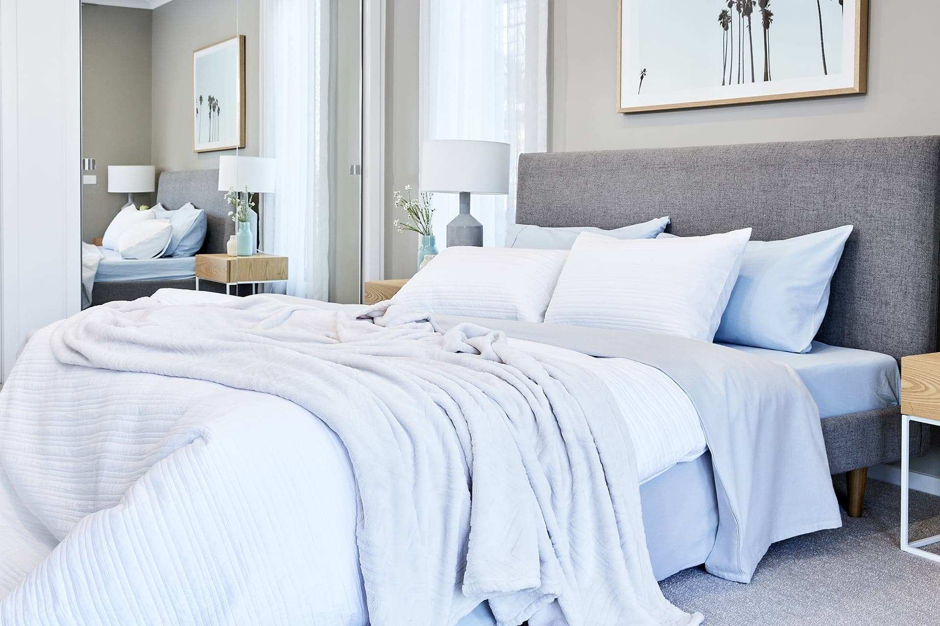 flannelette sheet set in pale blue and white from lorraine lea