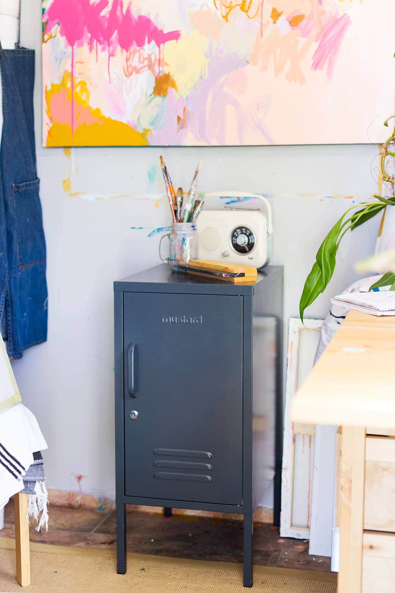 grey coloured locker by mustard shorty in grey