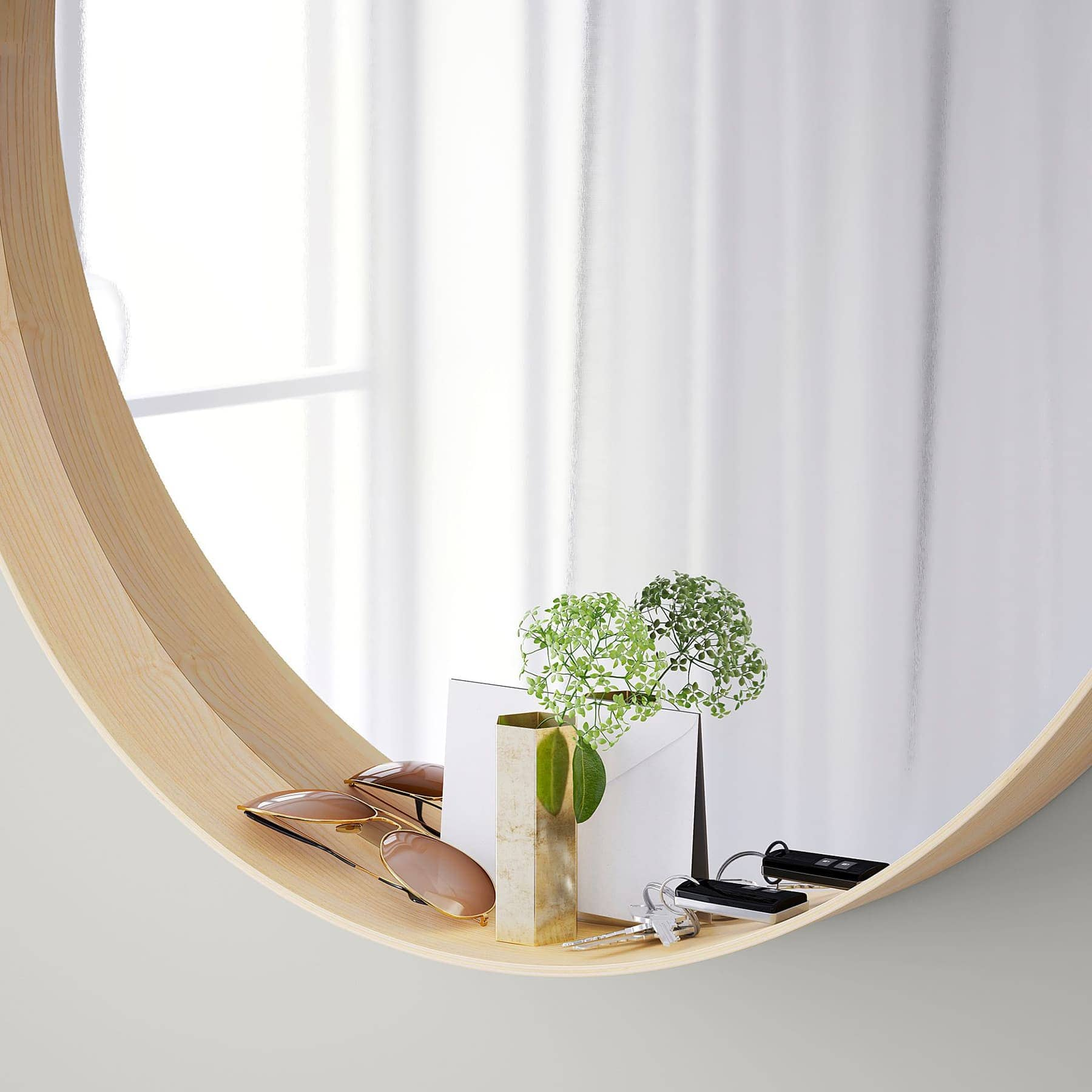 ikea stockholm round mirror in blonde timber finish