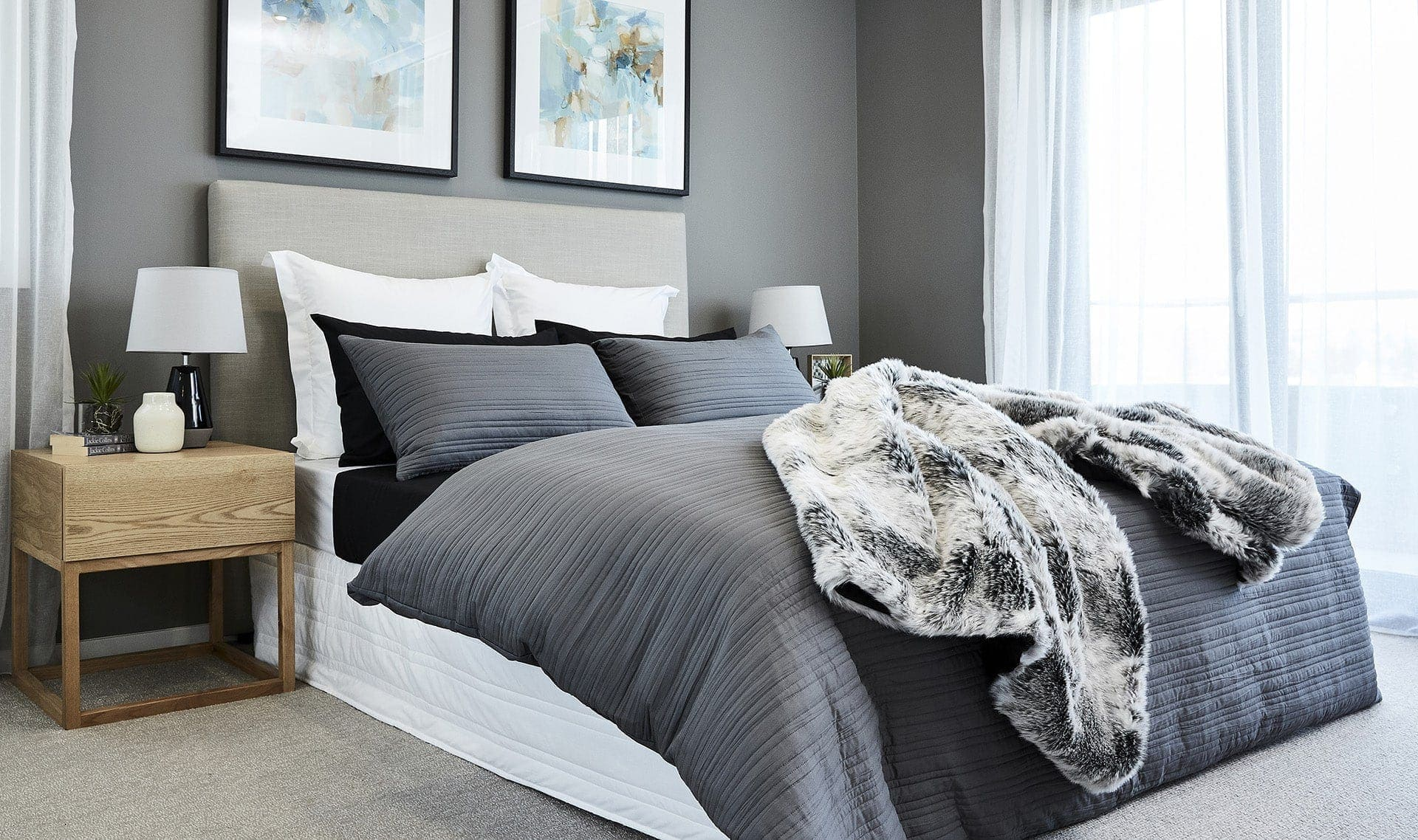 luxury cotton black and grey sheet set from lorraine lea