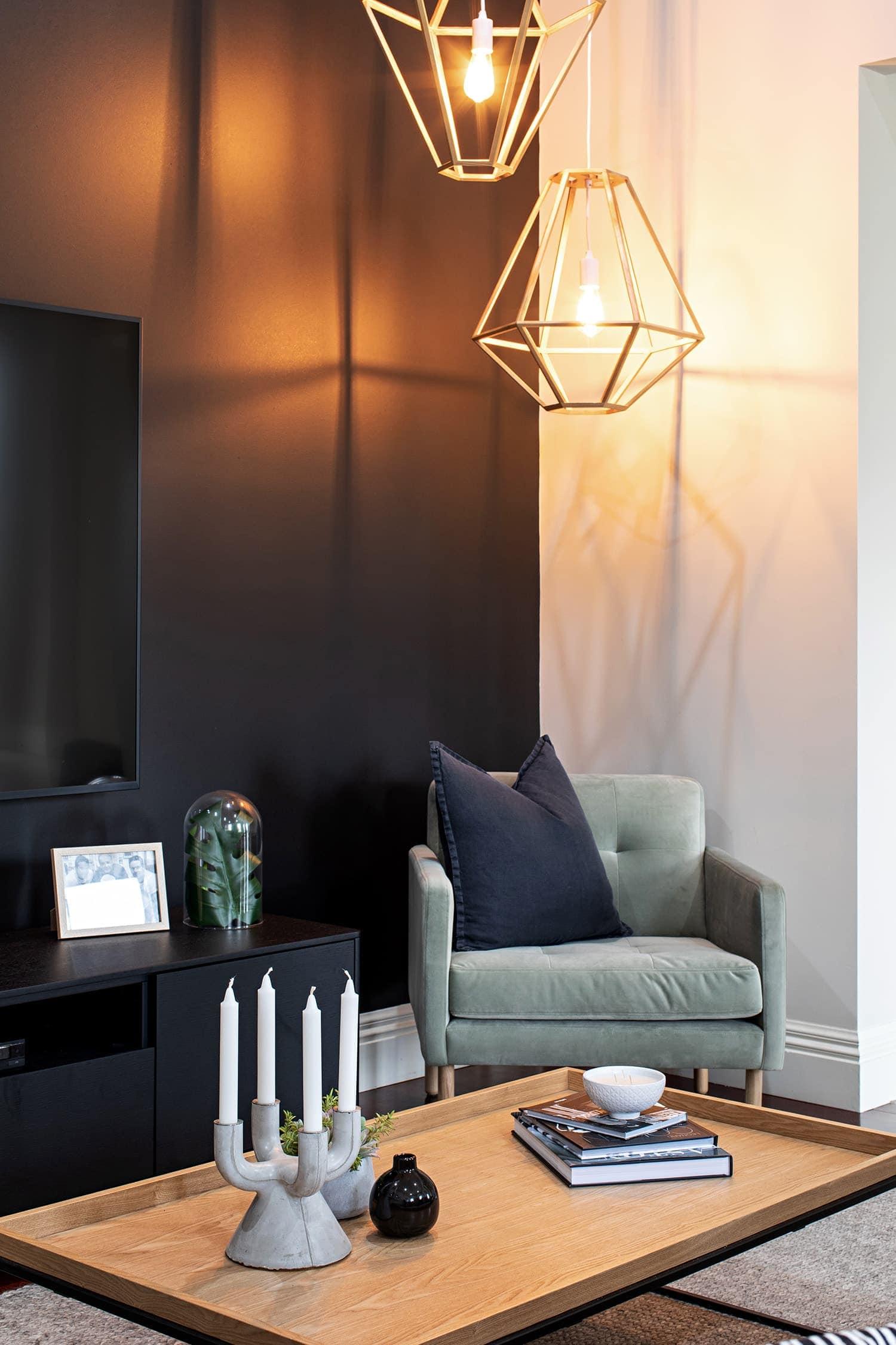 melbourne interior design green armchair in scandinavian living room by tlc interiors