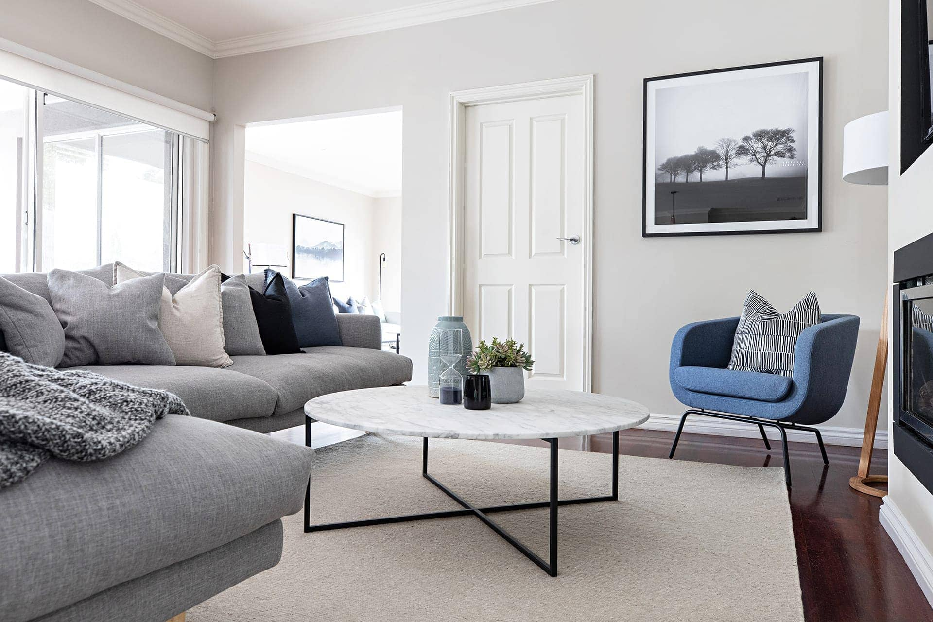 melbourne interior designer scandi living room blue grey sofa by tlc interiors
