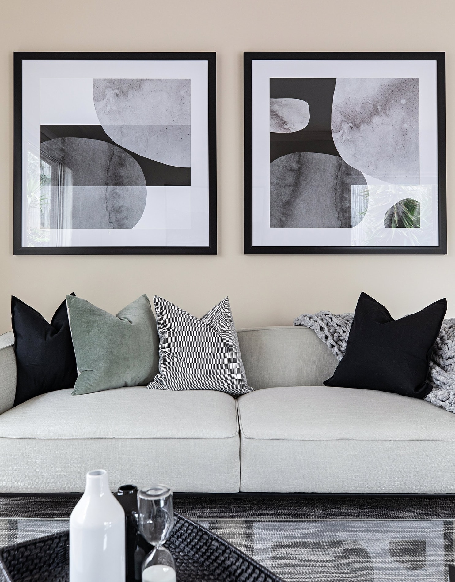 melbourne interior designer tlc interiors scandi living room design with grey sofa and black art