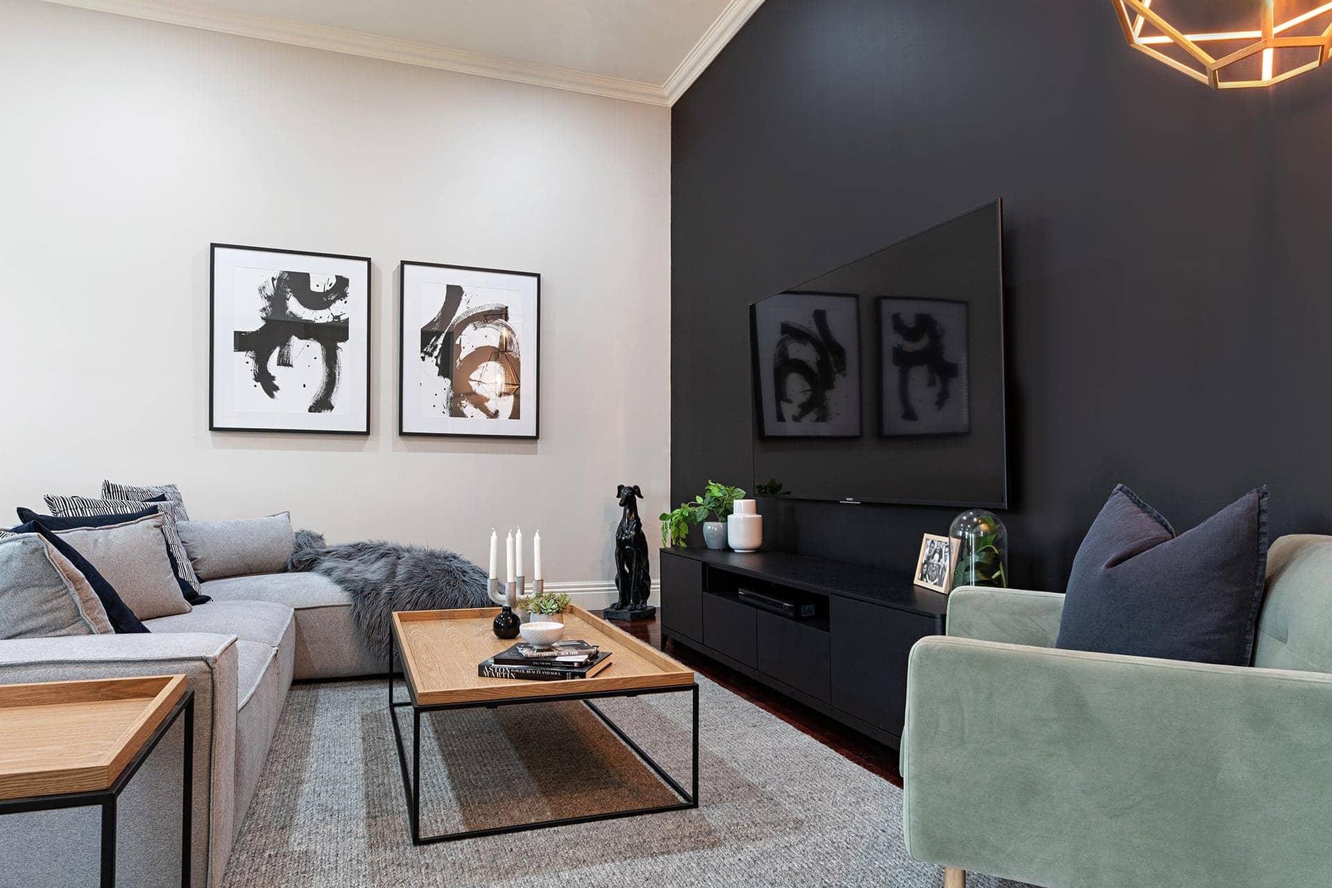 melbourne interior designers black and grey scandinavian living room by tlc interiors
