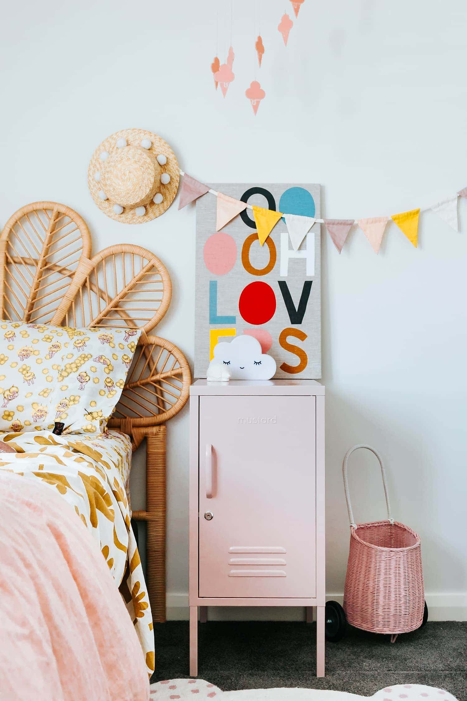 pink coloured locker in little girls room shorty in blush by mustard
