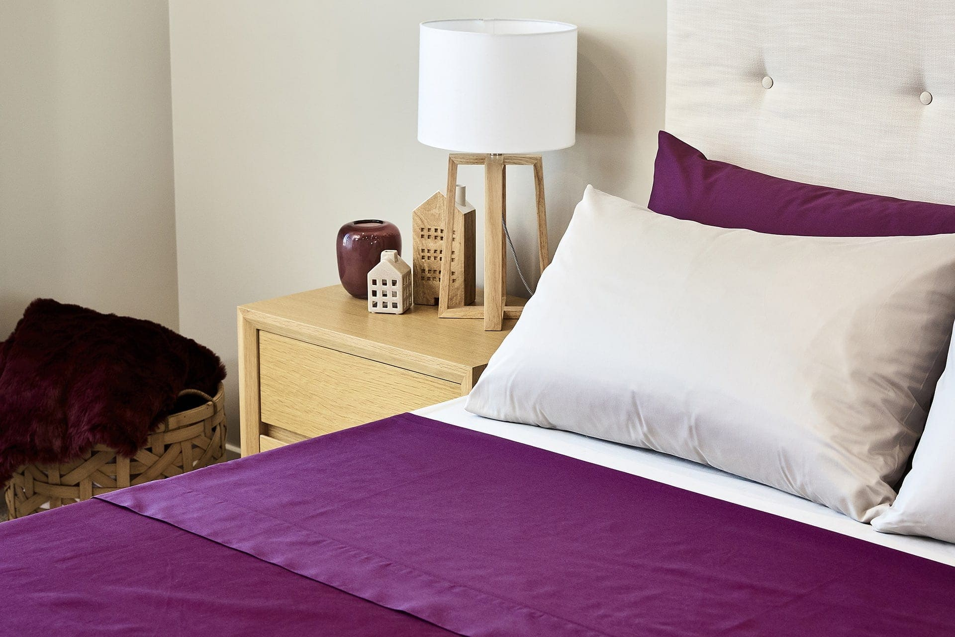 premium percale sheet set from lorraine lea in purple