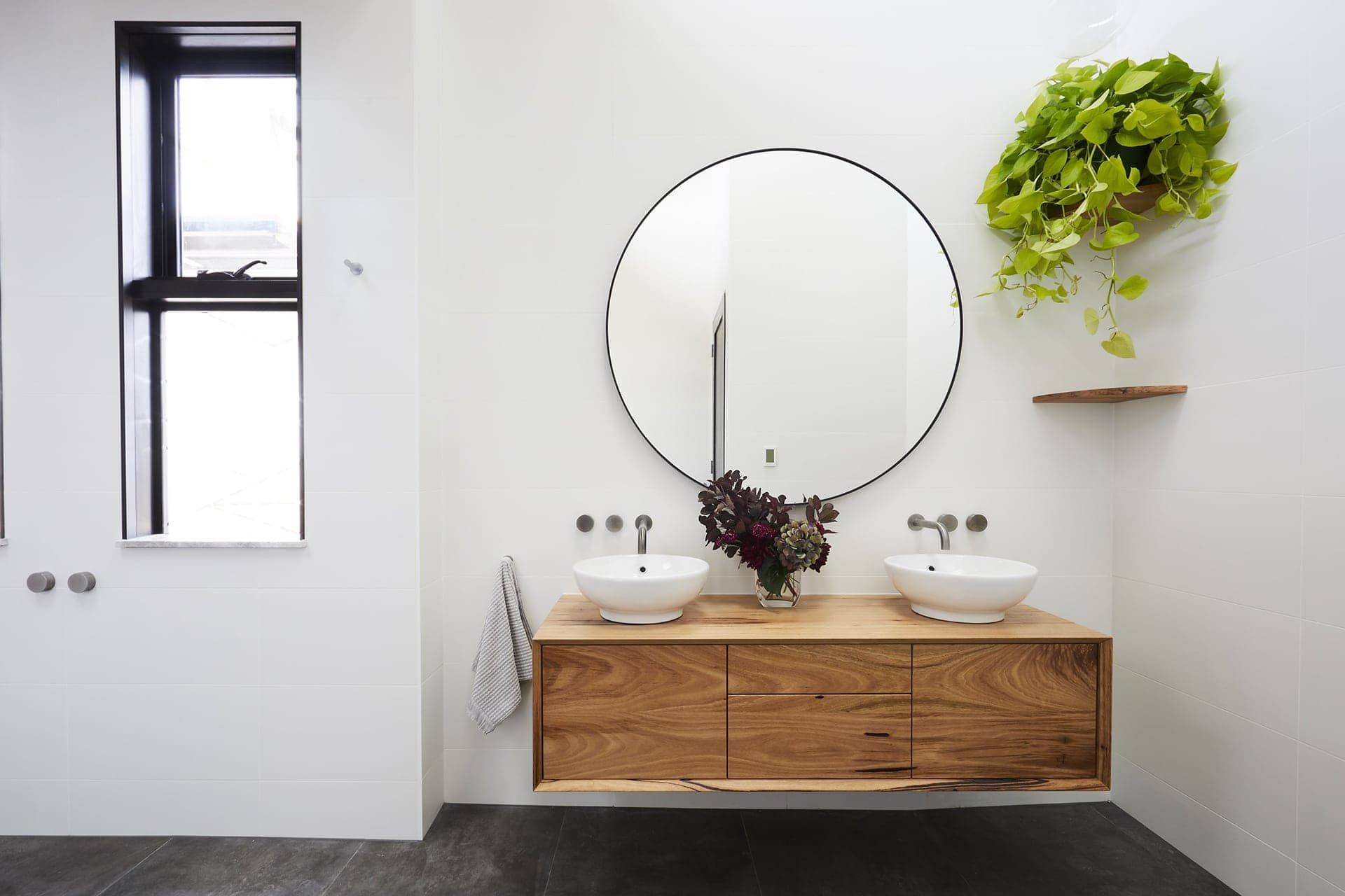 the block 2018 bathroom reveals bianca and carla floating timber vanity