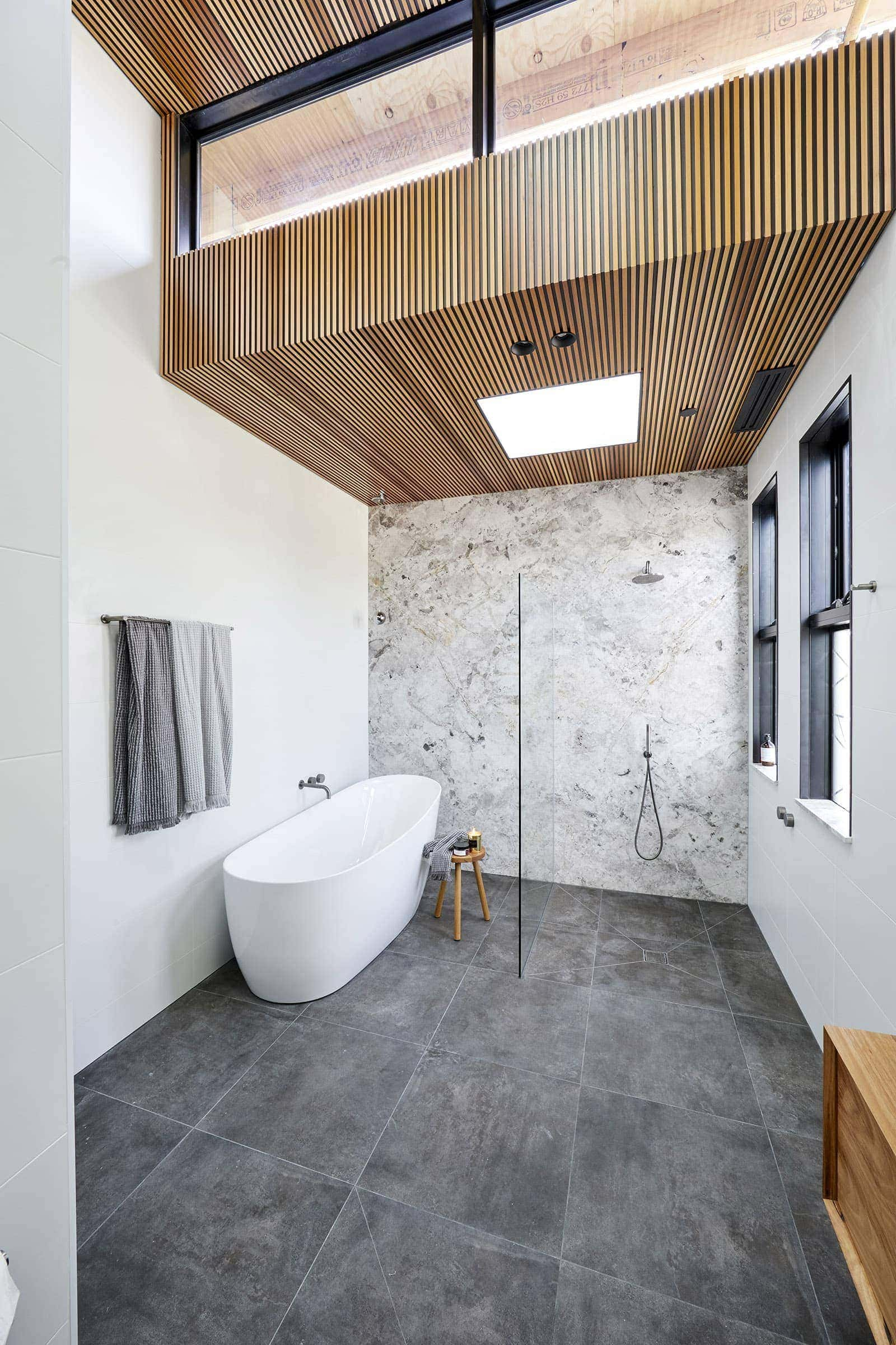 the block 2018 bathroom reveals bianca and carla timber panel roof