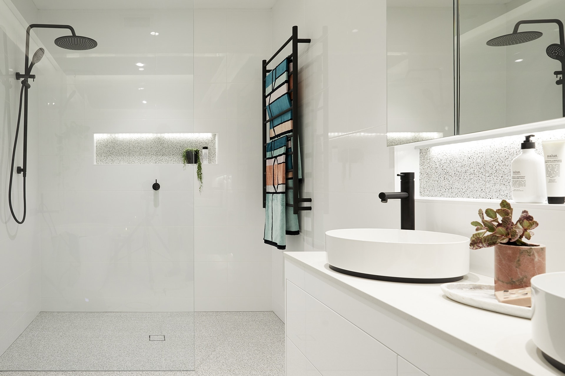 the block 2018 bathroom reveals hans and courtney bathroom with terrazo floor