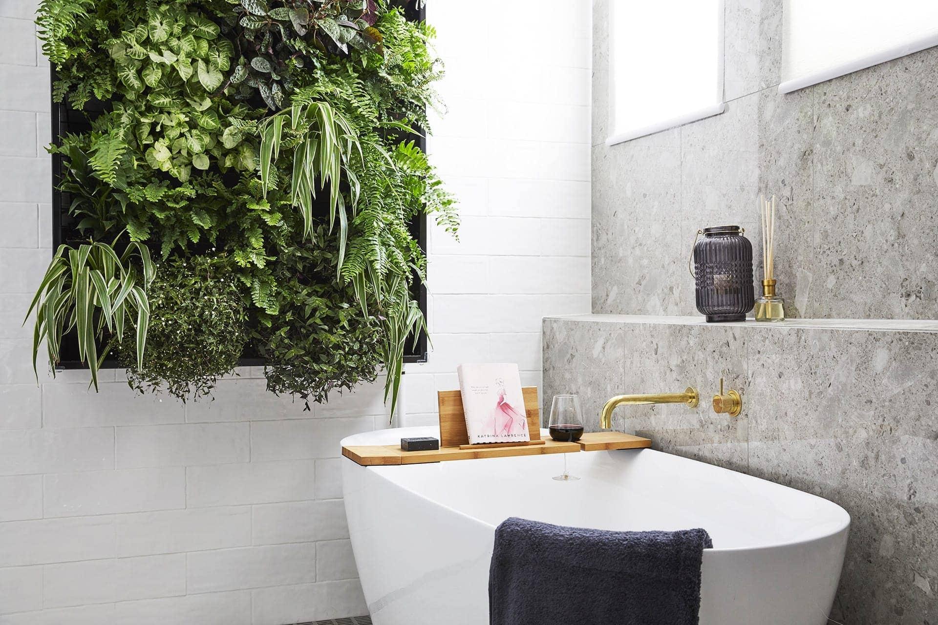 the block 2018 bathroom reveals hayden and sara bathroom with vertical garden wall