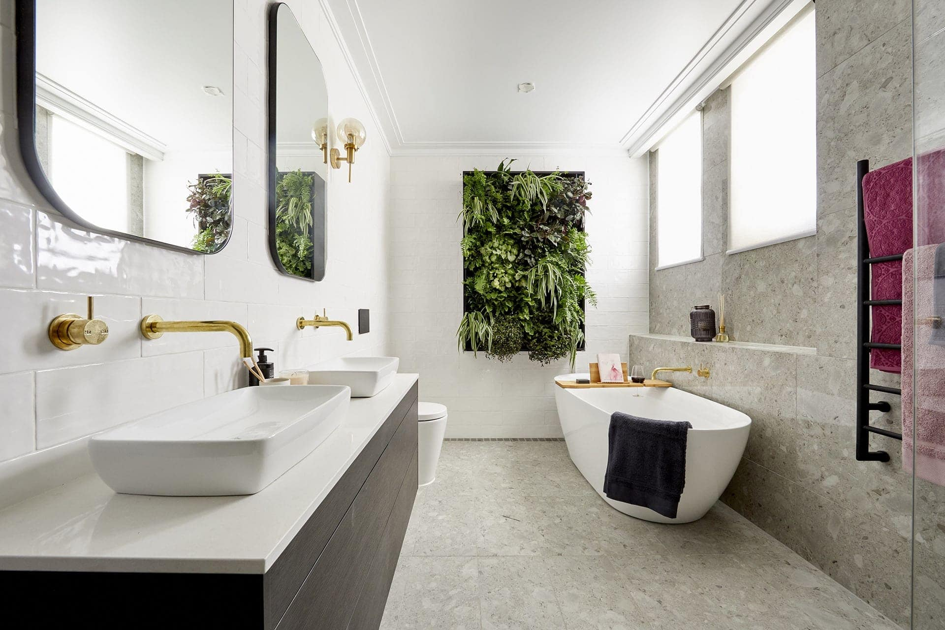 the block 2018 bathroom reveals hayden and sarah bathroom with gold tapware