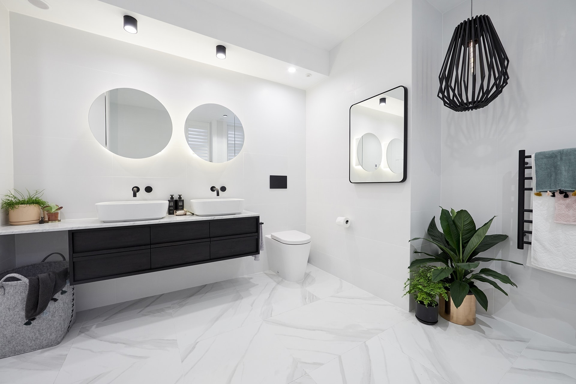 the block 2018 bathroom reveals kerrie and spence black and white bathroom