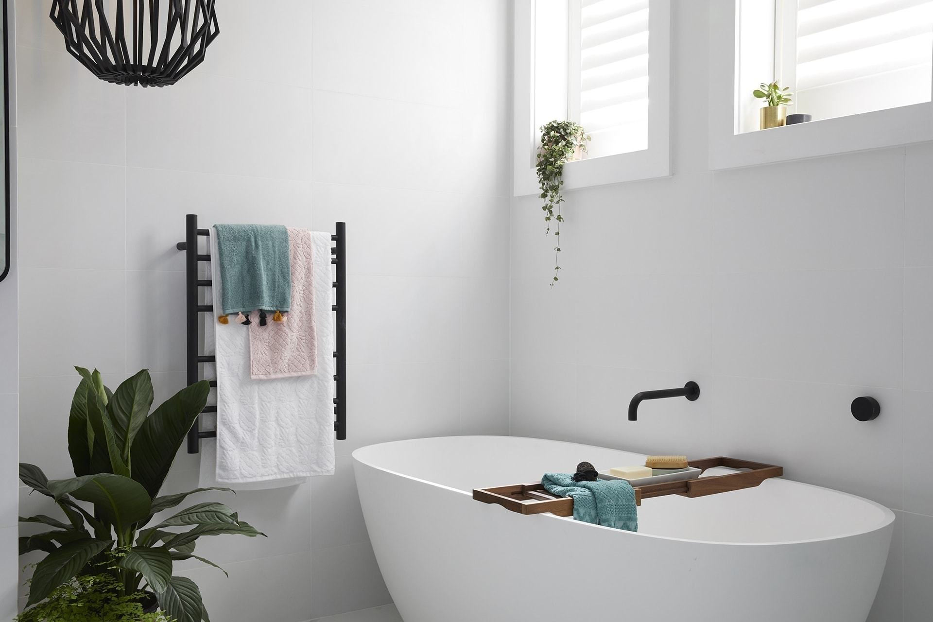 the block 2018 bathroom reveals kerrie and spence white freestanding bathtub