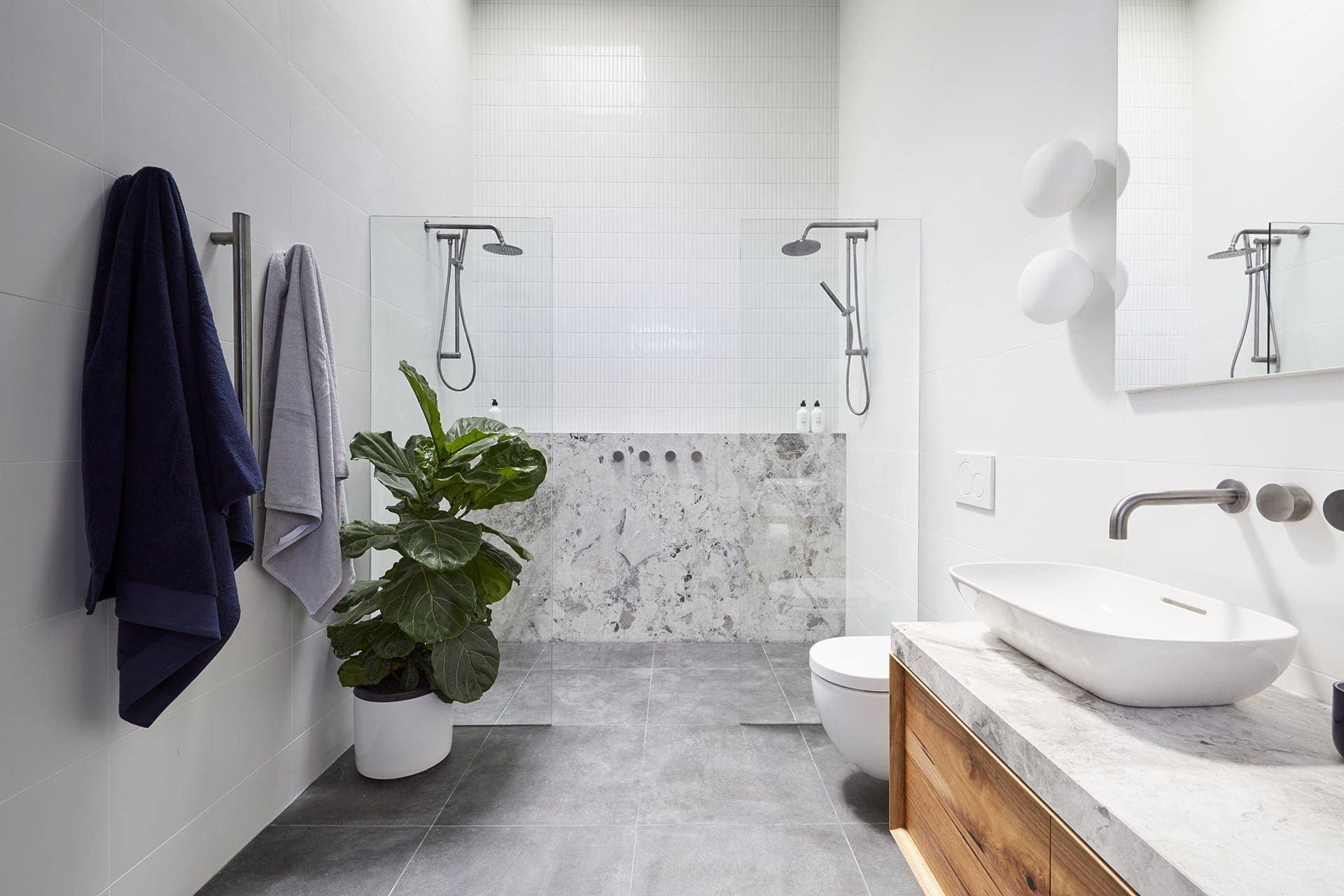 the block 2018 ensuites bianca and carla bathroom with marble feature wall
