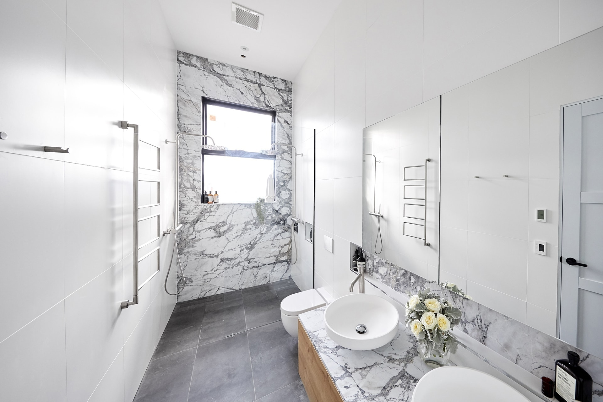 the block 2018 ensuites norm and jess bathroom with marble feature wall