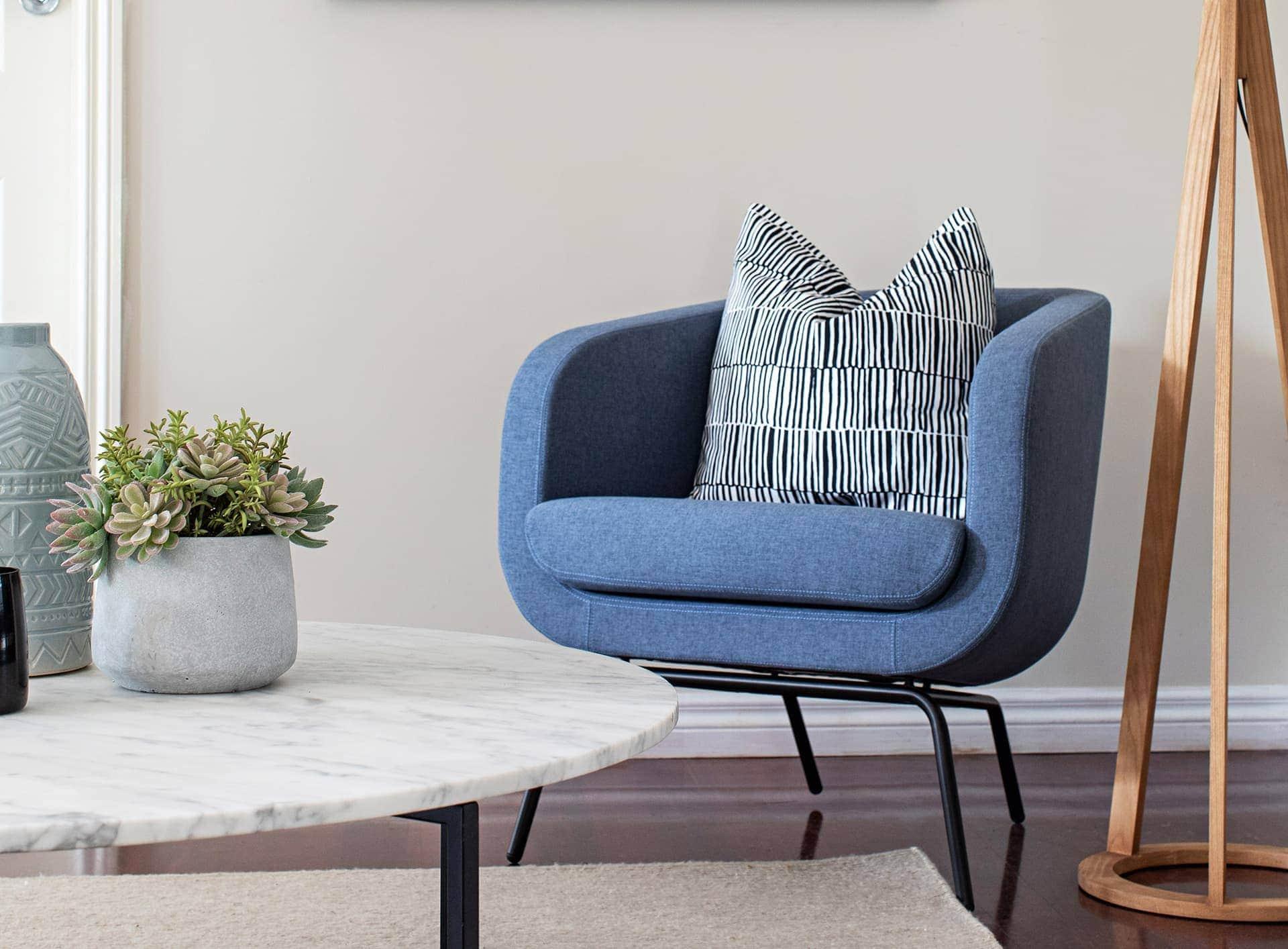 tlc interiors melbourne interior designers blue armchair from globewest