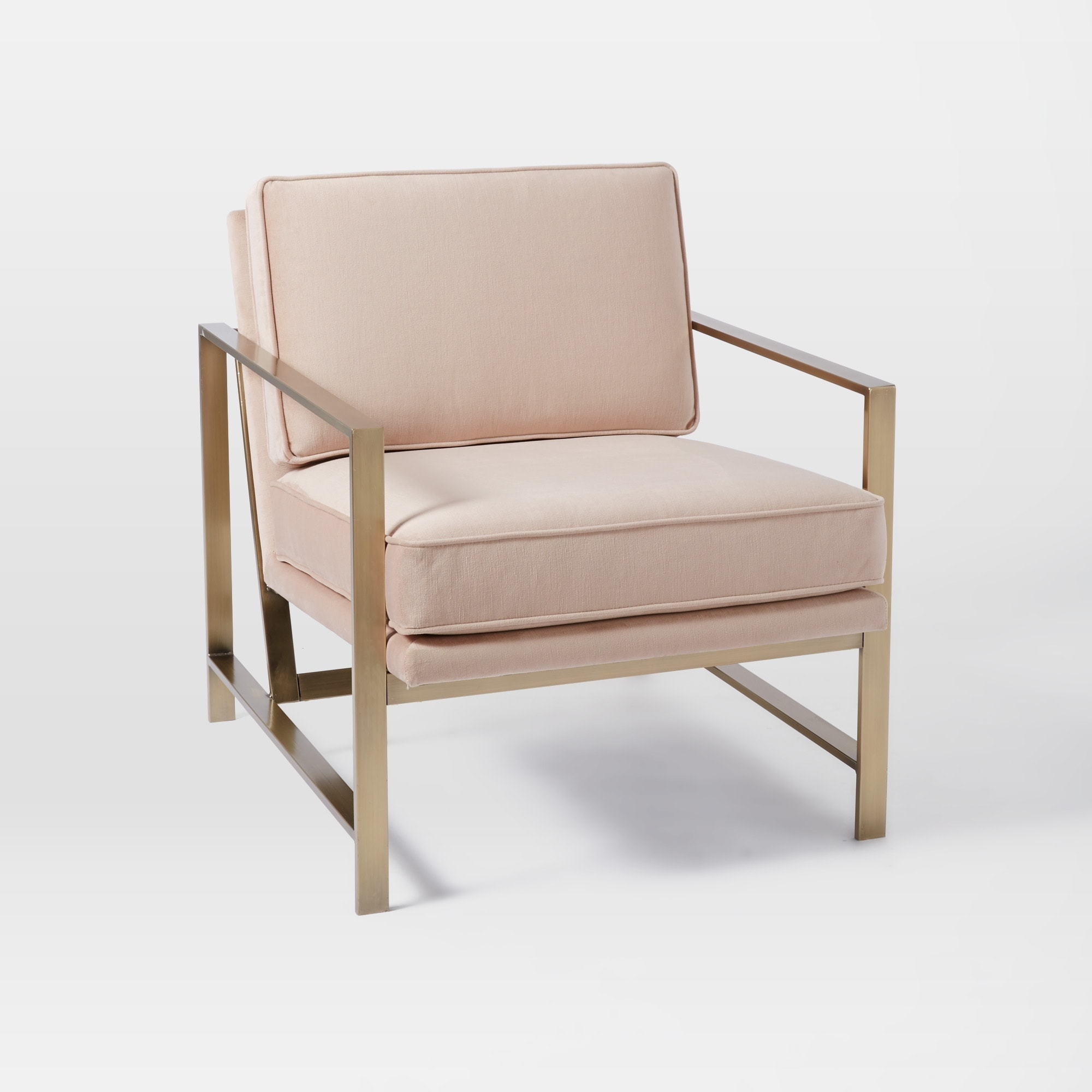 west elm blush armchair with gold arms