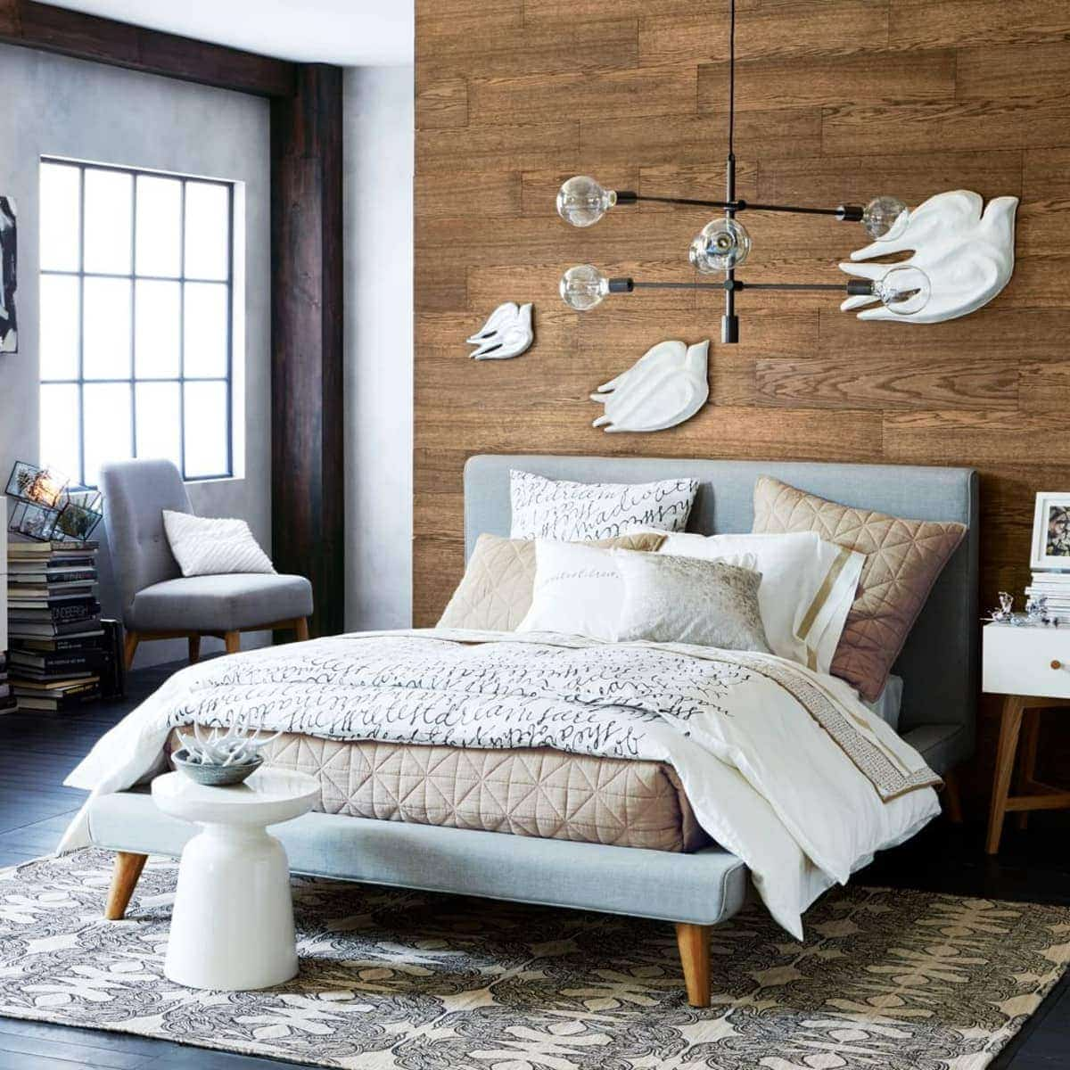 west elm mod upholstered bed for small bedroom