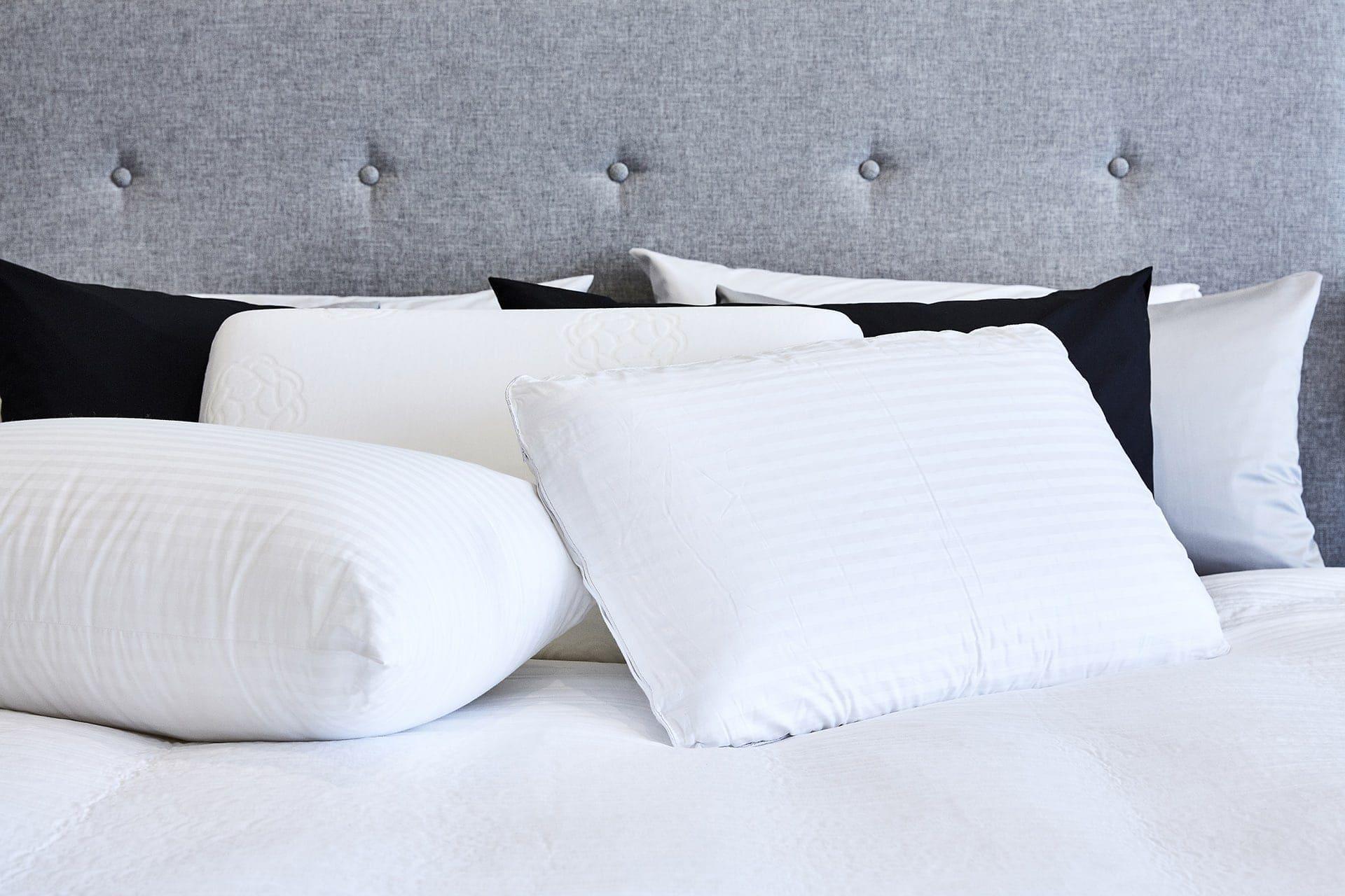 lorraine lea pillow range on master bedroom bed