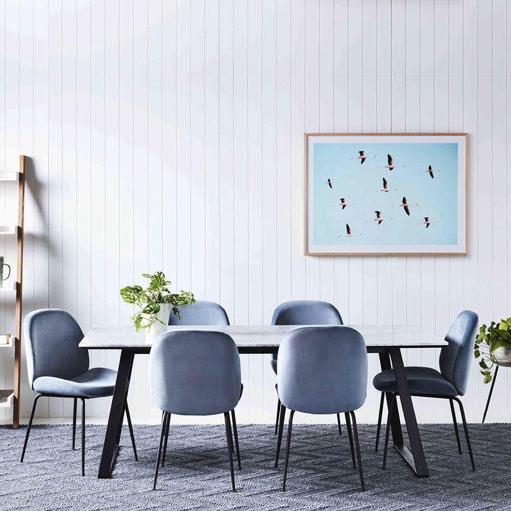 powder blue velvet dining chairs from early settler