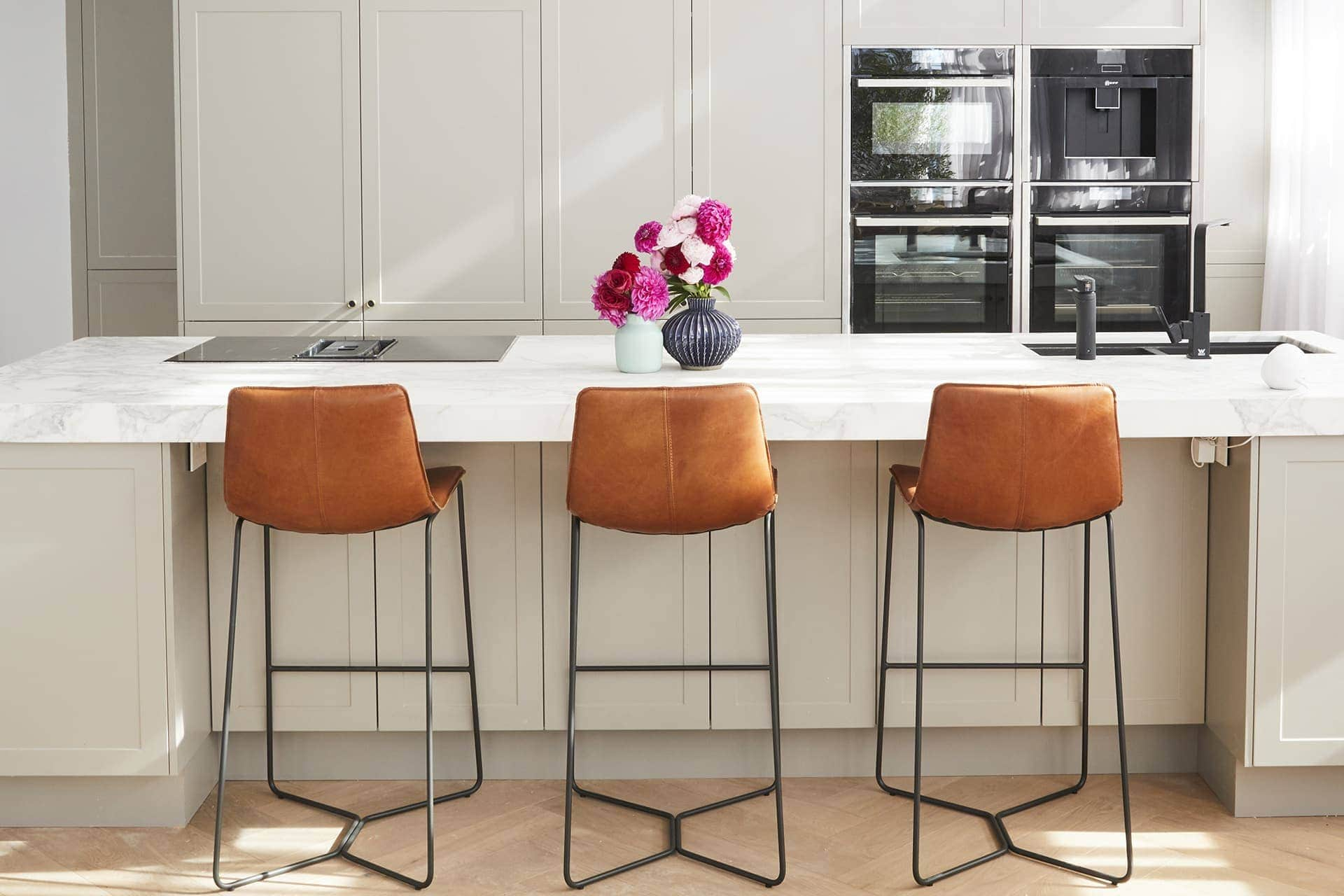 the block 2018 kitchens norm and jess tan leather stools