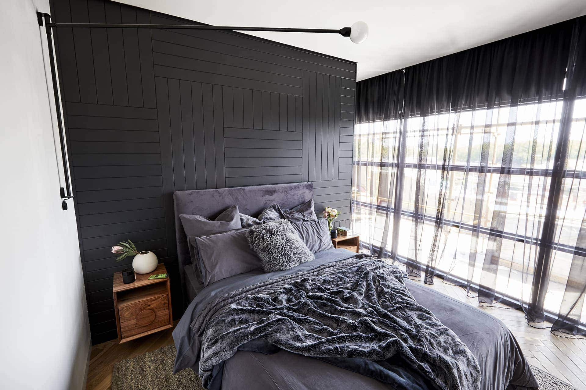 the block 2018 master bedrooms bianca and carla feature wall