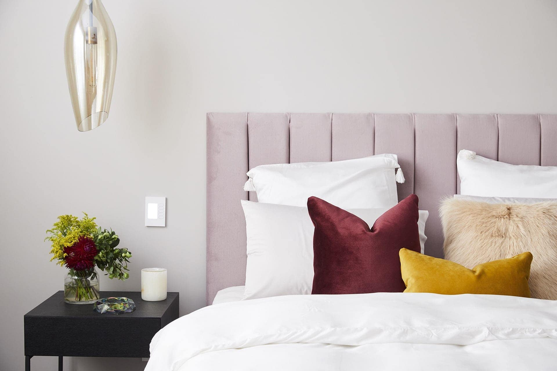 the block 2018 master bedrooms hans and courtney upholstered pink headboard