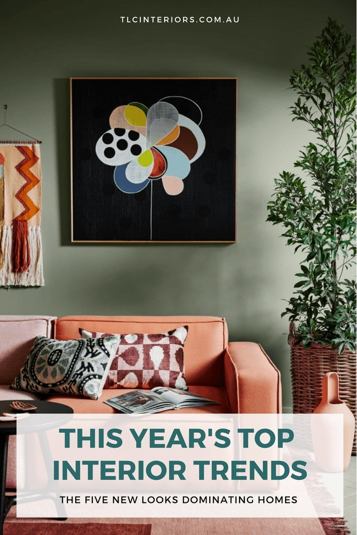 australian interior design trends 2018 living room with green wall and terracotta sofa