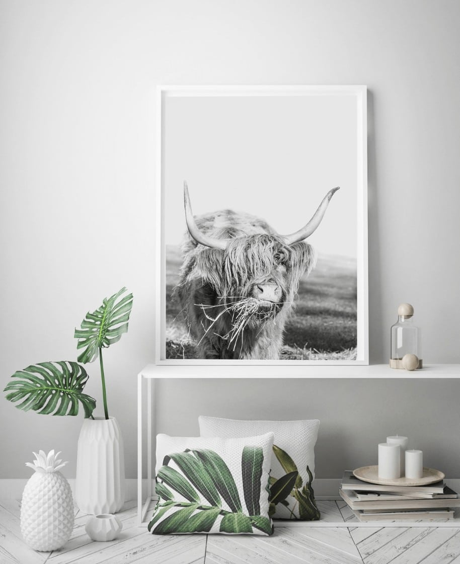 bull artwork on white wall by the horns cow art prints