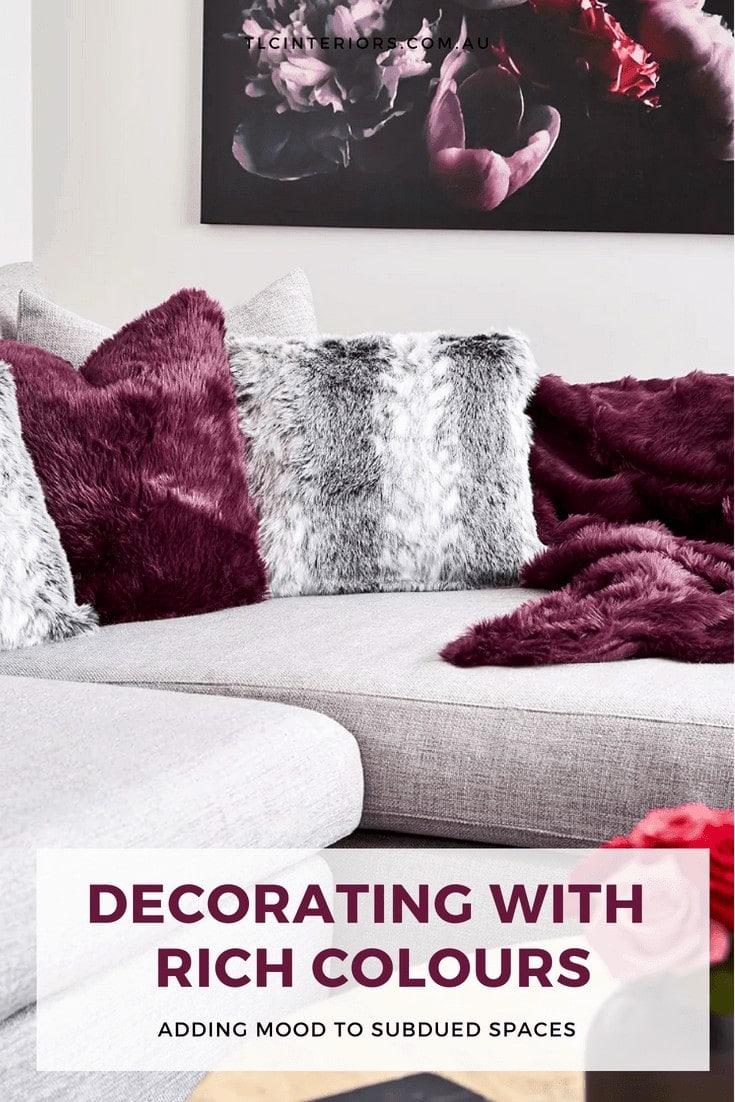 burgundy cushions on grey sofa faux fur cushions autumn decorating ideas