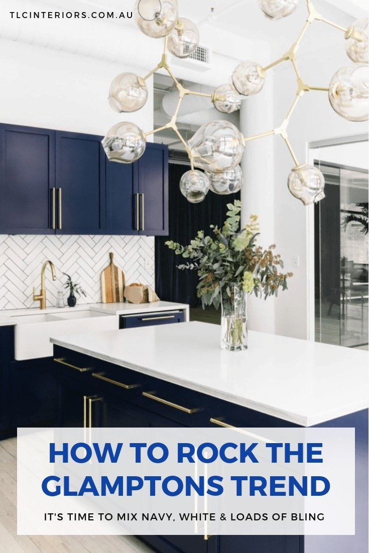 hamptons style kitchen with blue cabinets and gold handles