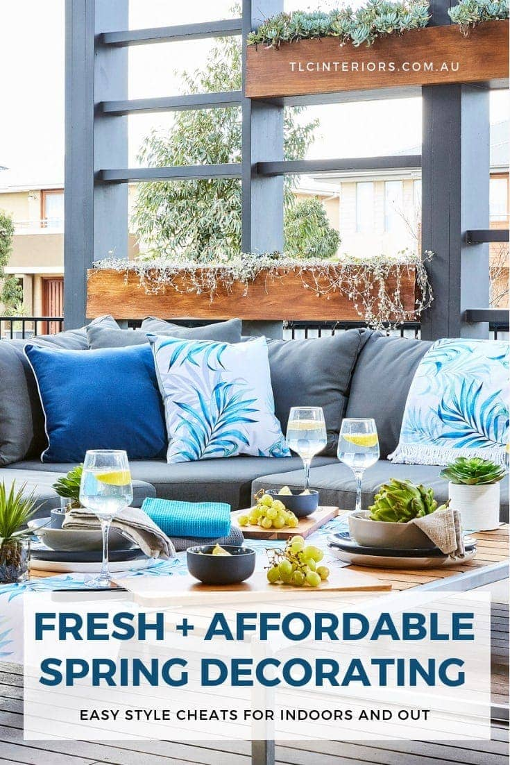 outdoor area with outdoor lounge and blue and white tropical outdoor cushions