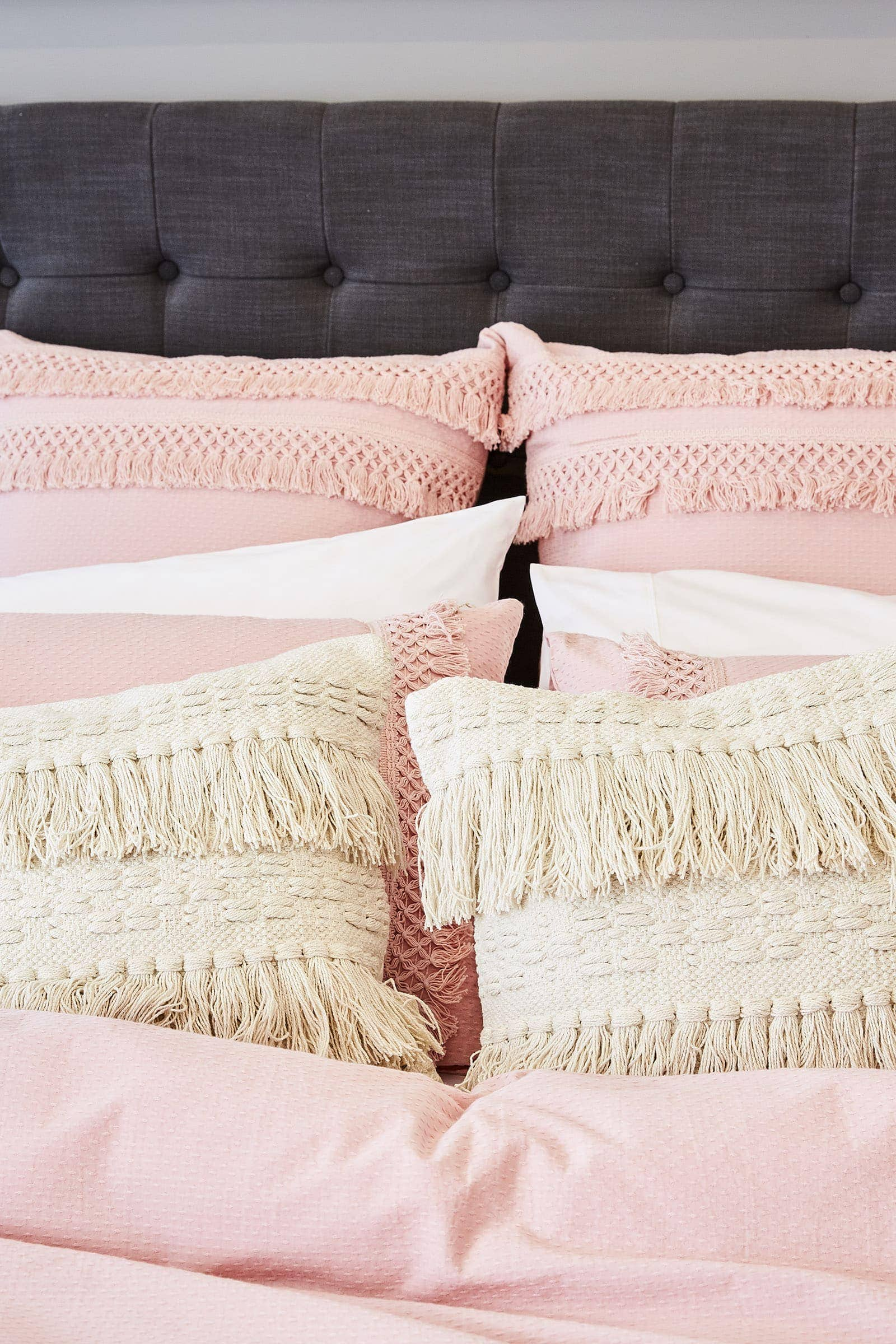 pink bohemian bedroom beige and pink boho cushions with tassels lorraine lea