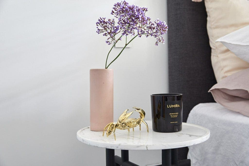 the block 2018 hans and courtney guest bedroom bedside table