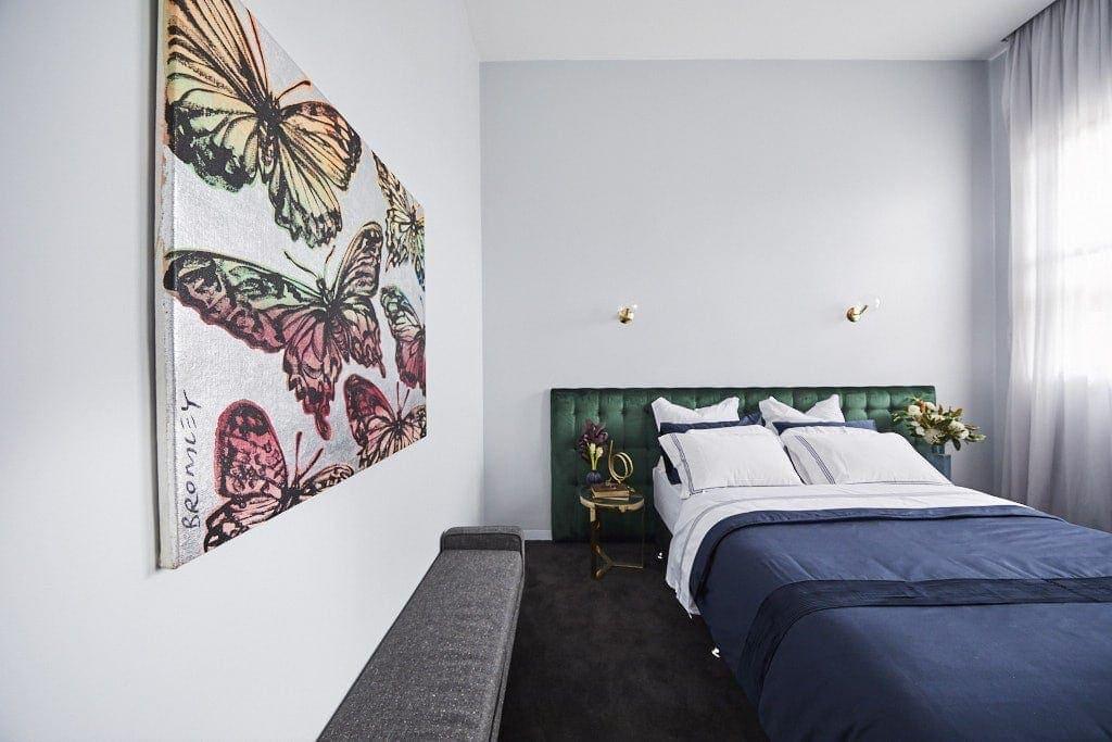 the block 2018 norm and jess guest bedroom green velvet headboard